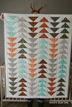 Cove's Flying Geese, baby quilts, modern quilts,  machine quilting, bias binding