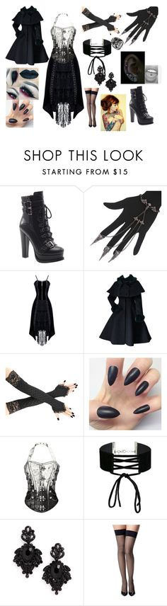 """Old fashion Black"" by frostbiten ❤ liked on Polyvore featuring Luichiny, Miss Selfridge, Tasha, Commando and West Coast Jewelry"