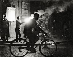 Velo Nuit Naples (Bicycle at Night in Naples), 1955, Sabine Weiss. Swiss, born in 1924