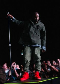 #KanyeWest wearing #Nike Air Yeezy 2 Red
