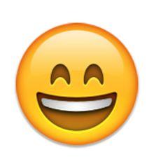 visage souriant avec la bouche ouverte et les yeux souriants
