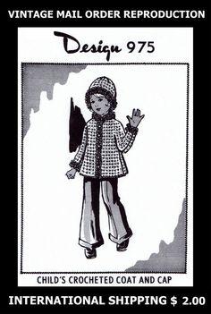 975 Vint 60s Design CHILD'S GIRLS Cute Coat HAT & CAP CROCHET Crocheting Pattern #PATTERNPEDDLER975