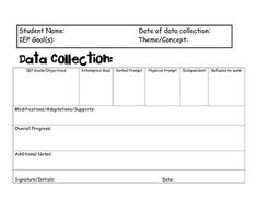 A template to help collect data for Special Education teachers.  Data collection tool that is easy to use and a