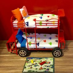 Dollhouse Miniature Red Metal Car Bunk Bed, Car Themed Bedding. by MiniFunTimes on Etsy