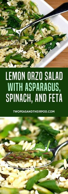 Lemon Orzo Salad with Asparagus, Spinach, and Feta- This salad is simple and fresh. I loved the crunchy asparagus with the tender, lemony orzo. The spinach added additional green goodness too. Make this salad for a light lunch or serve it as a side dish to any spring meal. You will be amazed by how easy it is to make and how delicious it is to eat. #healthy #salad
