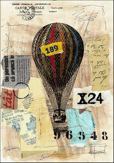 Baloon Cruise mixed media collage