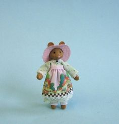 Miniature dressed mouse lady for 1/4 or doll for 1 scale plus free dollhouse kit via Etsy