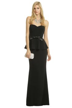Rosalind Peplum Gown - Badgley Mischka. This is a very pretty version of a peplum, so elegant and I think it would look good on a lot of different sizes