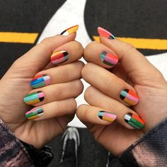 Everythings about colourful acrylic nails, matte nails you may love! Most Stunning ? Colourful Acrylic And Matte Nails Design For Prom And Wedding ? Matte Nails, Acrylic Nails, How To Do Nails, Fun Nails, Nail Art Designs, Nail Design, Color Block Nails, Colour Block, Color Blocking