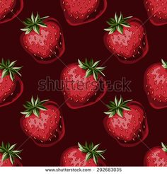 Strawberries seamless hand drawn vector pattern with deep red background - stock vector