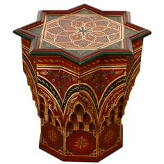 Moroccan Hand-Painted Side Table Maroon Color | From a unique collection of antique and modern tables at https://www.1stdibs.com/furniture/tables/tables/