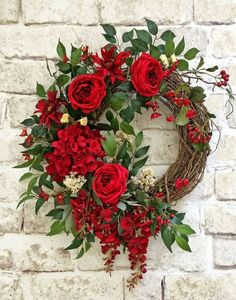 Red Silk Flower Wreath, Front Door Wreath, Grapevine Wreath, Summer Wreath, Wreath on Etsy - This beautiful red silk floral wreath was Valentine Day Wreaths, Valentine Decorations, Christmas Decorations, Valentines Flowers, Holiday Decor, Summer Door Wreaths, Holiday Wreaths, Spring Wreaths, Fresh Christmas Wreaths