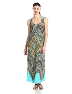MSK Womens Sleeveless Printed Maxi Dress Turquoise Small *** Continue to the product at the image link.