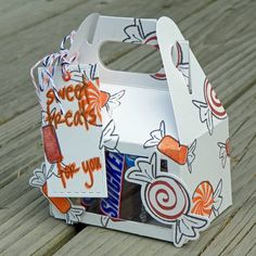 Sweet Treats for You by Neva Cole Time for a few candy treats, Halloween candy that is! This sweet little-handled box was easy to create with dies and stamps and is ready to give to a special someo…