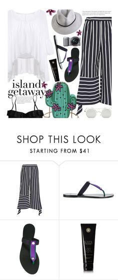 """""""Untitled #2661"""" by beebeely-look ❤ liked on Polyvore featuring Goen.J, Versace, Sony, Soleil Toujours and J.Crew"""
