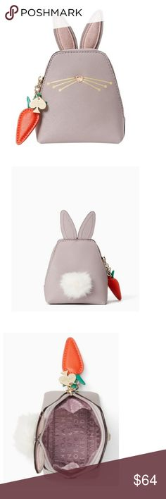 "Kate Spade Bunny Coin Purse Wallet Trade for black cat coin purse or iphone 7 bunny phone case!  Gray Hop To It Rabbit Coin Purse Wallet  Whimsy coin purse is done in crosshatched leather with smooth leather trim.  Adorable fluffy cotton tail at the back Rabbit embellishments include jewel nose, suede ears and pom tail on the back Leather orange carrot zip pull with gold spade lozenge 4""L x 6""H x 0""W kate spade Bags Wallets"