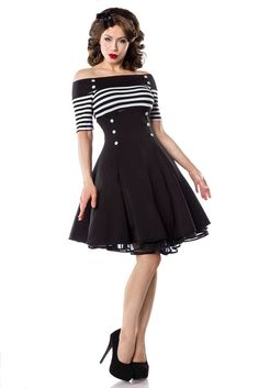 Bardot Striped Black and White Vintage Flare Dress available at  moderngrease.com