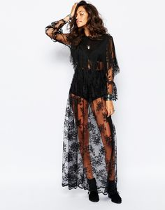 Image 4 ofReclaimed Vintage Sheer Lace Maxi Dress With Tassels