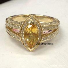 $799 Marquise Citrine Engagement Ring Pave Diamond Wedding 14K Yellow Gold 5x10mm,Split Shank