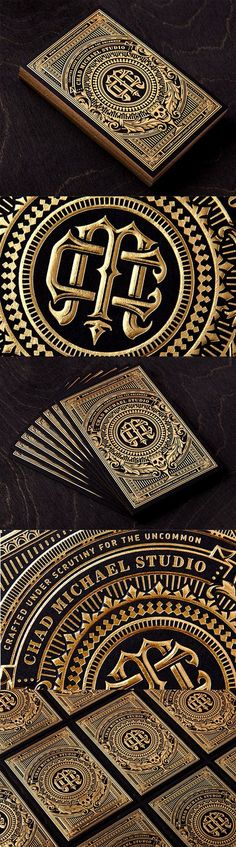 Incredibly Intricate Black And Gold Hot Foil Stamped Business Card For A Designer: Business Card Designs.