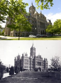 The City County Building is seen on May 20, 2014 in the top frame and again shortly after construction was completed in the 1890s.