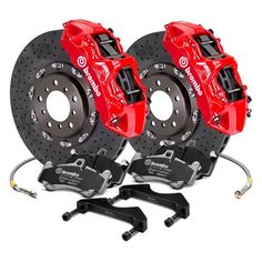Image may not reflect your exact vehicle! Brembo® - GT Series Cross Drilled CCM-R Front Big Brake Kit
