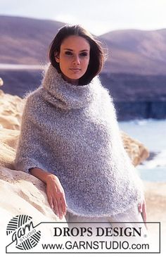 DROPS Poncho with hood in Poodle. ~ DROPS Design - free