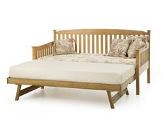Serene, Eleanor 3FT Wooden Day Bed with Trundle Guest Bed - Oak - bedstar.co.uk