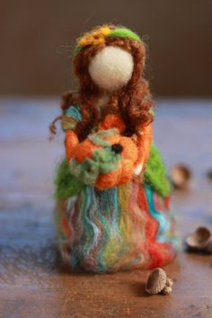 Needle Felted Autumn Fairy Angel Harvest Doll by CloudBerryCrafts