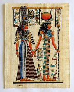 Isis and Queen Nefertari | Ancient Egyptian Papyrus Painting Main Arkan Gallery