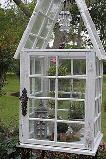 My Sister-in-Law's (Denise Hebert) yard and salvage window chaple made by my brother (Chris Hebert).hope to have one of my own someday. Old Window Greenhouse, Diy Greenhouse Plans, Miniature Greenhouse, Backyard Greenhouse, Small Greenhouse, Garden Yard Ideas, Backyard Projects, Garden Beds, Garden Projects