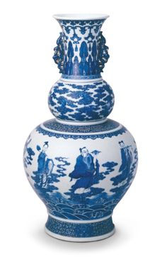 Blue and white 'Eight Immortals' 'double-gourd' vase, seal mark and period of Qianlong Qing Court collection © Palace Museum, Beijing