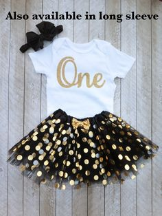 Black and gold first birthday outfit Black and gold tutu One year old outfit Black and gold 1st birthday outfit Baby girl first birthday by SweetPeaCharlies on Etsy