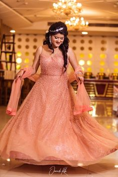 Bride in Amazing Engagement Gown. More information on WeddingNet Kerala Engagement Dress, Engagement Gowns, Bridal Lehenga, Saree Wedding, Bride Reception Dresses, Wedding Dresses, Pre Wedding Poses, Saree Gown, Indian Bridal Outfits