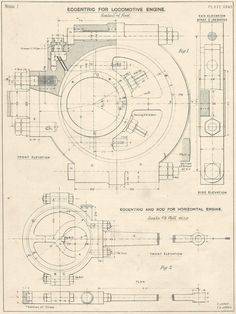 Eccentric For Locomotive Machine Drawing 1910s Vintage industrial Print Engineering Drawings blueprint Art Plan Gift Home