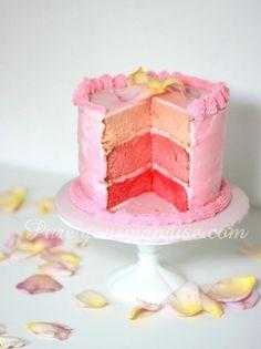 Cake triple layer rose passion étages arc en ciel multicolore recette puregourmandise pure gourmandise