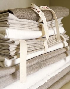 I love collecting natural linens. Using them as towels in the kitchen is sheer luxury!