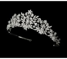 This beautiful tiara is a crown of sparkles. This piece is hand-wired with rhinestones and Swarovski crystals. You will shine on your special day in silver!Pins loops are located at each end to allow you to fasten the tiara your hair with bob. Bridal Tiara, Wedding Jewelry, Pearl Bridal, Bridal Crown, Quinceanera Tiaras, Quinceanera Party, Wedding Tiaras, Wedding Headpieces, Wedding Bride