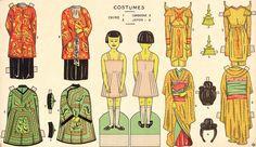 Poupée à habiller , costumes Chine, Cambodge et Japon