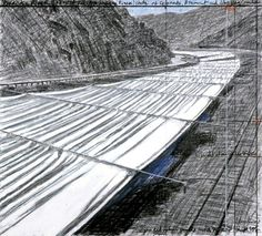 """""""Over the River,"""" by Christo, project for Arkansas River, drawing, 2007(Wolfgang Volz/Christo)"""