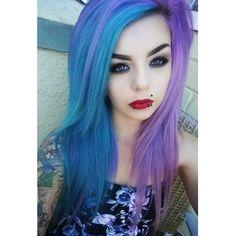 Half purple half blue teal