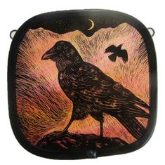 """High Mountain Ravens"" by stained glass artist Tamsin Abbott"