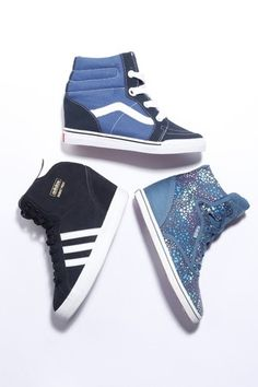 Athletic Trend: Sneaker Wedges (Clockwise from top: Sk8-Hi vulcanized wedge sneaker by Vans; all-canvas patterned CVO style by Keds; and the suede Basketball Profi sneaker from Adidas)