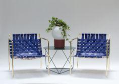 Brass frame + blue leather = best combinaison ever / Cadre en laiton + cuir bleu = meilleure combinaison de matière | by Eric Trine #cuivre #copper #laiton #brass #chair #design