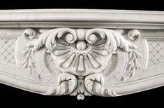 Antique white Carrara marble Rococo Louis XV fireplace mantel