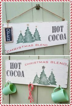 It's Time for Hot Cocoa! Created with the sides of an old drawer and Funky Junk's Old Sign Stencils. From MySalvagedTreasures.com