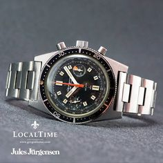 1960's Jules Jürgensen Chronograph 20ATU Diver Landeron Cal. 248 Original Band PROFESSIONALLY SERVICED IN-HOUSE AT THE LOCALTIME SPA