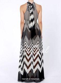 STRIPE DRESS black white transparent summer maxi stylish chiffon A-line collar #Rose #Maxi