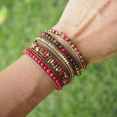 Red mix Wrap Bracelet Set, Cream mix, Boho bracelet, Bohemian bracelet, Beadwork bracelet by on Etsy Beaded Wrap Bracelets, Bohemian Bracelets, Bracelet Set, Bracelet Making, Boho Jewelry, Beaded Jewelry, Handmade Jewelry, Jewelry Design, Ankle Bracelets