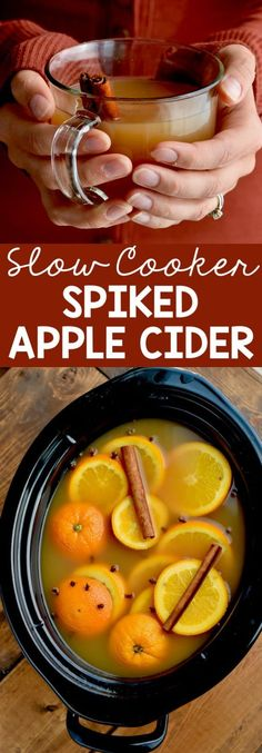 This Slow Cooker Spiked Apple Cider comes together quickly and is perfect for serving to party guests! This Slow Cooker Spiked Apple Cider comes together quickly and is perfect for serving to party guests! Spiked Apple Cider, Apple Cider Drink, Mulled Apple Cider, Apple Cider Cocktail, Apple Cider Wine Recipe, Alcoholic Apple Cider Recipe, Spiked Punch Recipes, Crockpot Apple Cider, Gourmet